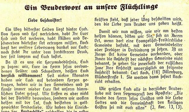 """Die Bundesdirektoren Schmidt und Vogelbusch in den """"Mitteilungen an die Evangelisch-Freikirchlichen Gemeinden"""" im März 1946"""